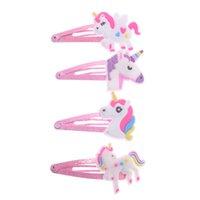 2 pcs 4 cores glitter unicorn hairclips de cabelo dos desenhos animados clipes de cabelo bonito cabelo de plástico
