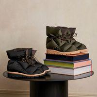 Kissenbezugs-Knöchelstiefel Frauen Soft Down Shoe Designer Flache Schuhe Wasserdichte Nylon Obere Winterstiefel Gute Qualität Große Größe 265