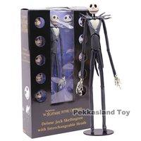 Mardrömmen före jul Deluxe Jack Skellington med utbytbara huvuden Action Figure Collectible Modell Toy Gift 35cm T200106