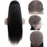 Pelucas de encaje de pelo humano brasileño recto 100% sin procesar cabello humano 13 * 4 * 1 T Pelucas de piezas de piezas de pelo peruano peruano Pelucas para mujer negra