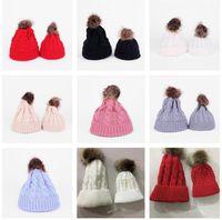 Paprent-child Twist Pom Pom Beanies Crochet Winter Hat Women Kids Children Cuffed Skull Caps Knitted Tuque Ski Earmuff Slouchy Hats E112002
