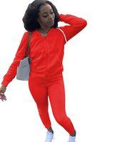 2021 Bayan Rahat Moda Sonbahar Bahar Uzun Kollu İki Parçalı Jogging Yapan Bayanlar Güz Eşofman Ter Suits Siyah Artı Boyutu S-2XL
