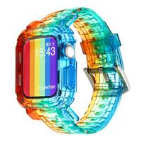 Moda Rainbow Watch Band Case Protector dla Apple Watch Series 6 SE 1 2 3 4 5 Silikonowe paski do Iwatch 38/40 / 42 / 44mm Sport