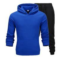 2020 Casual Ropa Casual Pullovers Suéter de algodón Hombres Chándalsuits Hoodie Dos piezas + Pantalones deportes Camisetas Otoño Invierno Traje Traje Negro
