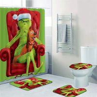 Гринч украл рождественские водонепроницаемый душевой занавес ковровое покрытие туалет крышка для ванны коврик 4 частей набор 3D печатает ванная комната для ванной комнаты LJ201130