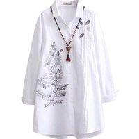 المرأة قمم كبيرة الحجم blusas الأبيض طويل الأكمام بلوزة ربيع جديد فضفاض ضئيلة الكورية نمط القطن مطرزة قمصان طويلة XL 4XL 201028