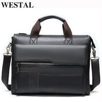 Westal Men Briefcases Borsa da uomo Borsa da ufficio in vera pelle per uomo Borsa per laptop Borsa in pelle Avvocato Avvocato / Borse da lavoro 8165