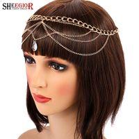 Sheegior Gold Wave Tassels Главная цепь для волос Аксессуары для волос для женщин Кристалл Вода Капли Кувелочка Прикосновение Свадебные Свадебные Изделия для волос