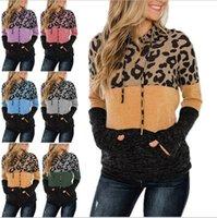 Женщины Leopard Толстовки пэчворк цвет с капюшоном свитер с капюшоном с длинным рукавом пуловер толстовки мода блузка топы осень зима капюшон E120502