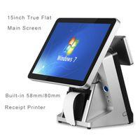 MONITORS COMPOSXB POINT of SALE VGA 고품질 LCD 시스템 15 '용량 성 터치 스크린 디스플레이 내장 프린터 VFD 금전 등록기