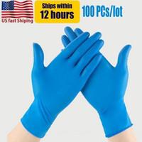 США стоковые синий нитрил одноразовые перчатки без порошок (не латекс) пакет из 100 шт. Антикидные антибакислотные женщины для взрослых Чистящие перчатки