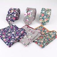 Gül Dar Kravat Hankerchief Set 100% Pamuk Tekstil Kravatlar Cep Kare Baskı Çiçek Kravat Klasik Sıska Çiçek Tie1