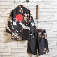 Erkek Eşofman Yaz Beachwear Suits İki Adet Setleri Hırka Diz Boyu Pantolon Kısa Kollu Robe Gömlek Harajuku Kimono Takım Elbise Erkek Pamuk