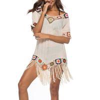 2020 Chiffon Tassel Beach Cover Up Costumi da bagno Donna Pullover Costume da bagno Scava fuori Patchwork Beachwear Beaching Beach Dress Dress Pareos