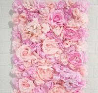 Rose artificiel artificiel artificiel rose fleurs mur de mariage décorations de mariage 60x40cm Hyderangea Panel Fond de panneau de fond de mariage Fournitures de fête de mariage romantique