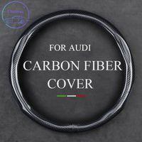 Cubierta de volante de fibra de carbono para Audi A1 A3 A5 A6 Q2 Q5 S7 QS RS TT UNIVERSAL 37-38 CM 15 PULGADAS Accesorios para interiores de cuero