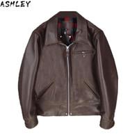 Brown 2021 Hommes sombres American Casual Style Cuir Veste Grande Taille XXXL Véritable Cowhide authentique Automne Fit Coating en cuir naturel