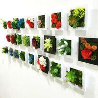 Metope hecho a mano 3D plantas suculentas de imitación de madera marco de foto decoración de pared flores artificiales decoración casera marco de flores