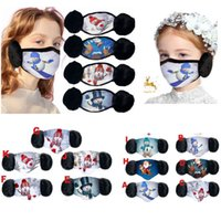 Christamas 2 In 1 Face Masks For Adult And Child Ear Protection Cotton Mask Christmas Cartoon Printing Warm Mask Fashion Masks HH9-3616