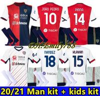 남성 키트 + 키즈 키트 20/21 Cagliari Calcio 축구 유니폼 2020 Joao Pedro Simeone 축구 셔츠 한정판 Nandez Pavoletti 축구 유니폼