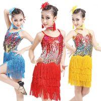 Bambini ragazze pailletted latin sala da ballo Dance Dress Dancewear Brange Gonne Latin Stage Dance Costume1