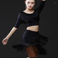 Etapa desgaste damas vestido de baile latino mujeres azul rojo trajes negros tassel salsa o-cuello rumba / samba realiza fitness dancewear1