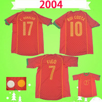 Portugal Ретро футбол Джерси 2004 2005 классическая футбольная рубашка Vintage Camisa de futebol 04 05 # 7 Figo # 17 C.ronaldo Gomes Pauleta Petit Red