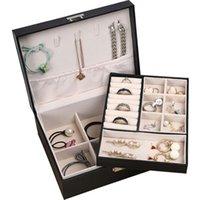Caixa de jóias Única camada dupla grande capacidade Caixa de jóias colar brincos anel organizador de couro display caso caixa de presente kke3706