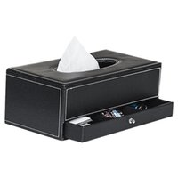 Scatole di tessuto Tovaglioli Produttore Desk Box Cover Cassetto Cassetto Asciugamano Telecomando Telecomando PU Home Office