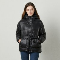 Fitaylor Winter Ultra Light Women Down Jacket Warm White Duck Down Hooded Parkas Female Single Breasted Snow Outerwear With Belt 201120