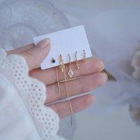 Степов корейской конструкции мода ювелирные изделия из 5-х частей набор бабочка Геометрические длинные тазоны женские дикие серьги