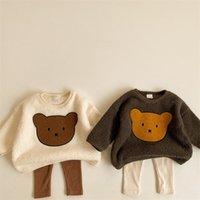 Milancel 2020 зимние детские толстовки милый медведь костюм мальчики толстовки флис девушки пуловер LJ201216