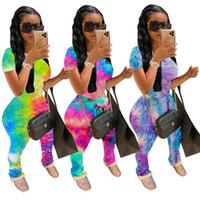 Kadınlar Pantolon Rahat Takım Yaz İki Parçalı Kıyafetler Set Moda Eşofman Kravat-Boya Kısa Kollu T-Shirt Suits Spor Garaj