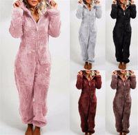 Peluche Sherpa Fleece 3D Bear Earys Romper Femmes Kids Kids Jumpseaux d'hiver Fluffy Zip Nightwear Pyjamas Plus Taille Taille Thermique Body Ly121701