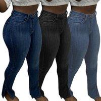 Feminino jeans azul estiramento preto elástico cintura alta mulheres lápis calças sexy bodycon skinny denim streetwear split calças clube