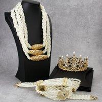Sunspicems 2020 Marruecos Conjuntos de joyería nupcial de mariscos Cinturón de la corona de la corona de la corona para las mujeres Ethnic Caftan Vestido de novia Regalos