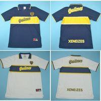 Top 96 97 Boca Juniors Jerseys Retro Vintage Maradona Soccer Jersey 1996 1997 Camisa de fútbol de Riquelme Roman Maillot de pie