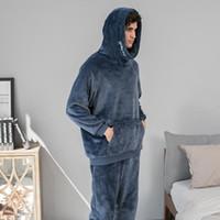Flannel Men Pajamas Set Утолщение Теплый человек Зима Pajama Ослабьте толстовки Толстовки с длинным рукавом Pajamas Мягкая Домашняя одежда Лаунжская одежда