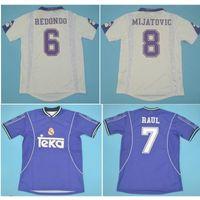 Top 97 98 Gerçek Madrid Retro Formalar 1997 1998 Futbol Jersey Vintage Klasik Raul Redondo Mijatovic Camisetas Gömlek