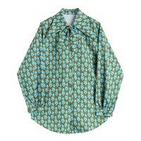 Kadın Çiçek Baskı Bluz 2021 Moda Sonbahar Casual Gevşek Uzun Kollu Açılır Yaka Gömlek Bayanlar Zarif Düğmeler Tops