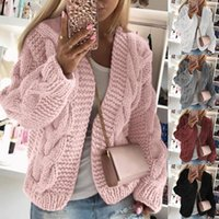 Women Knit Cardigans Sweater Jacket Winter Casual Pocket Car...
