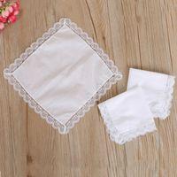 Рождественский подарок белый кружевной тонкий носовой платок женщина свадебные подарки партии украшения ткани салфетки простой пустой DIY носовой платок 25 * 25см CCD3305
