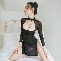 Traje de Cosplay del traje Porno Cheongsam tradicional Alta Abierto Tenedor erótica de la muñeca de la ropa interior atractiva del retro Ao Dai Uniformes de la Mujer
