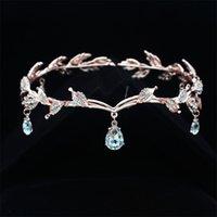 Rhinestone Gül Altın Düğün Gelin Alın Kafa Zincir Headdress Kristal Kolye Gelin Tiara Taç Saç Takı Aksesuar Y200409