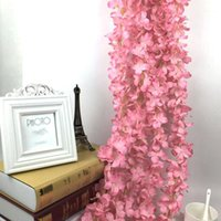 New Hot 6. 56ft Wedding Fake Flowers String Stripe Vine Leaf ...