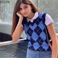 Icclek Herbst- und Frühlingsfrauen Diamant Gitter gestrickte ärmellose Weste Ins neuer College-Stil-V-Ausschnitt Strickweste-Tops