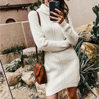 Simple casual mulheres vestido de malha outono inverno tartaruga pescoço feminino camisola vestido escritório senhora sólido pulôver jumper mini vestidos