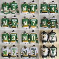 Vintage CCM Minnesota North Stars Ite Hockey Jerseys 1 Gump Wortsley 9 Mike Modano 7 Neal Broten 11 JP Parise 4 Craig Hartsburg Verde Bianco