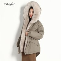 Fitaylor Winter Natural Fur Coat Women 90% White Duck Down Parkas Fox Fur Hooded Jackets New Oversized Real Fur Overcoat 201214