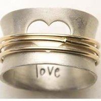 사랑 스틸 와이어 금속 반지 쥬얼리 남성 여성 패션 낭만적 인 도금 골드 결혼 반지 발렌타인 데이 선물 4 4CR J2